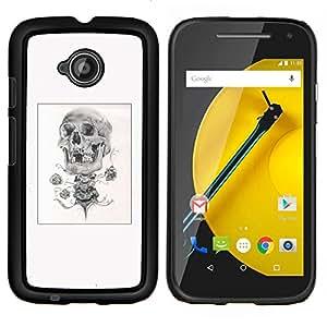 """Be-Star Único Patrón Plástico Duro Fundas Cover Cubre Hard Case Cover Para Motorola Moto E2 / E(2nd gen)( Cráneo del bosquejo del lápiz del cartel Negro Blanco"""" )"""