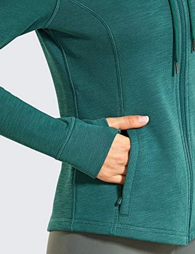 CRZ YOGA Women's Cotton Hoodies Full Zip Running Track Jacket Sweatshirt with Thumbholes
