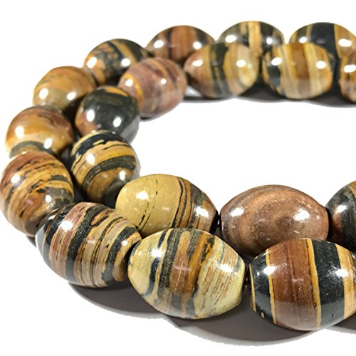 [ABCgems] Extremely Rare Madagascan Chocolate Petrified Wood AKA Fossilized Wood (Exquisite Tiger Matrix- Grade AA) 15x20mm Smooth Rice Beads For Beading & Jewelry Making