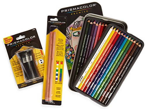 Prismacolor Premier Colored Pencils, Soft Core, 24 Pack (3597T) with 2 Blender Pencils (962) & Pencil Sharpener (1786520)