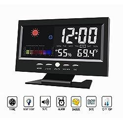 Digital Alarm Clock,Multifunction Sound Control Colorful LED Large Screen Desk & Shelf Clocks with Charging Cable (Black)