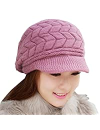 RUOYUCL Women's Winter Warm Knitted Hat Fleece Lined Snow Ski Caps With Visor