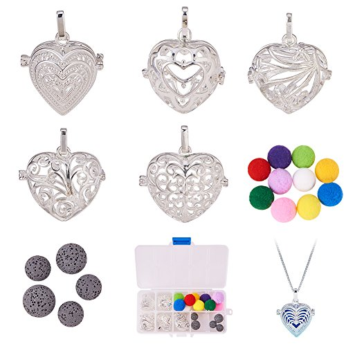 BENECREAT 5PCS Love Theme Heart Shape Hollow Silver Plated Bead Cage Pendant Oil Diffuser Pendant - Perfume Fragrance Essential Oil Aromatherapy Diffuser Charms Pendant Necklace