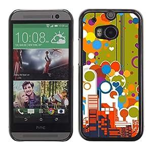 Be Good Phone Accessory // Dura Cáscara cubierta Protectora Caso Carcasa Funda de Protección para HTC One M8 // Big City Skyscrapers View Love Balloons Colorful