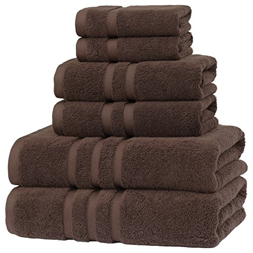 IRVINGTION / Luxury Hotel & Spa, Turkish COTTON,6 Pieces Towels Set, Max-Softness by Veteran Textile (Dark Chocolate) ()