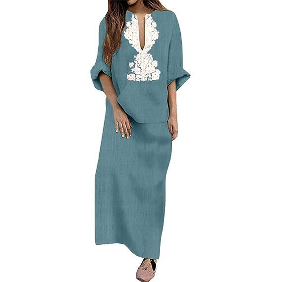 eabc45a6fe39 Qmber Kleider Damen Pullover Kleid Elegant Brautjungfernkleid Petticoat  Lange Ärmel Ballkleid Hepburn Herbst Winter, Mode Baumwolle Leinen Tasche  lose lange ...