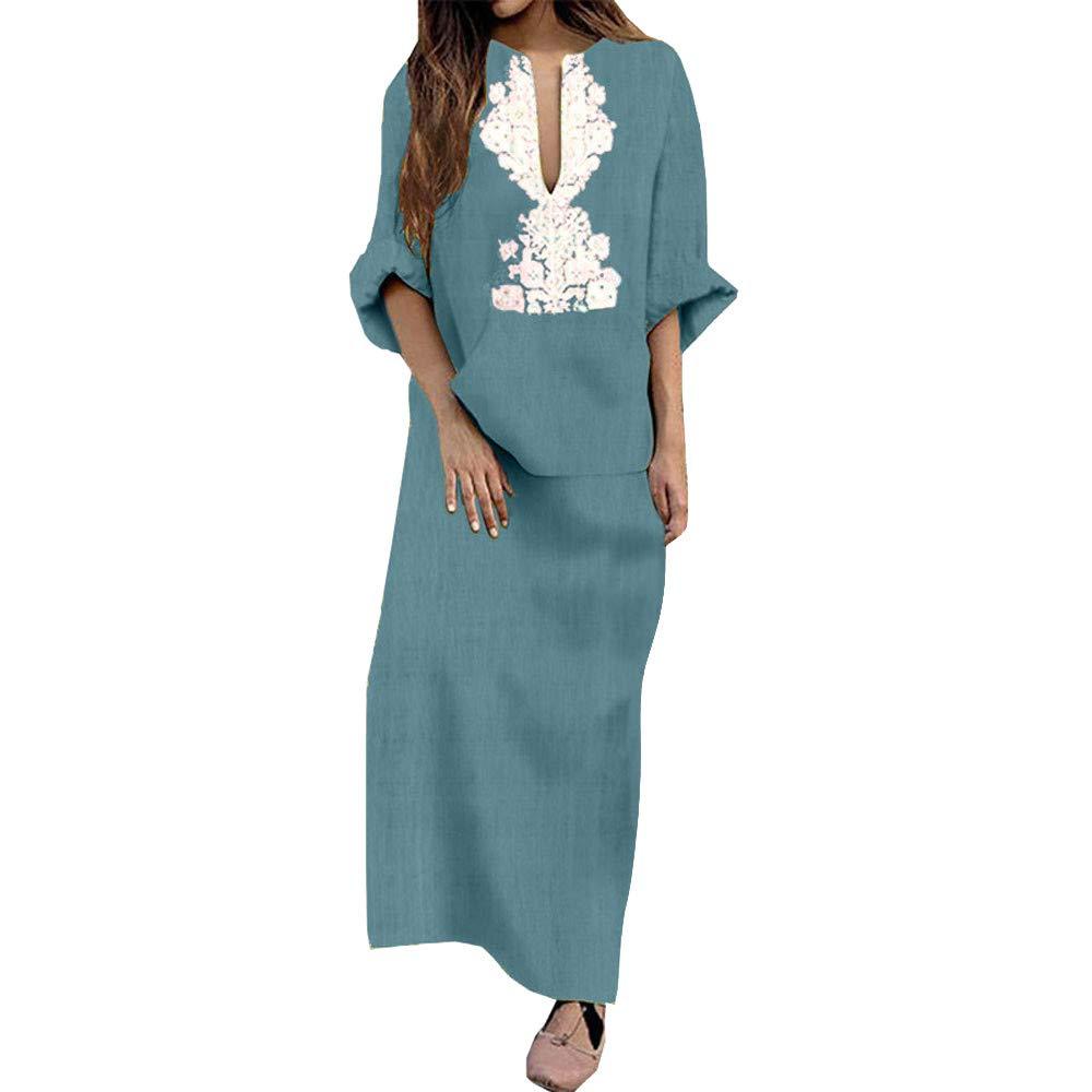 63b9c26b93dc Zainafacai Fashion Womens Long Sleeve V-Neck Maxi Dress Loose Baggy Kaftan  Sundress at Amazon Women's Clothing store: