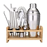 13 Piece Cocktail Shaker Home Bar Set Bartender Kit by Godmorn,18 oz Stainless Steel Martini Shaker with Wooden Stand,Double Jigger,Bottle Opener,2 Pourers,Bonus 20 Cocktail Recipes Booklet