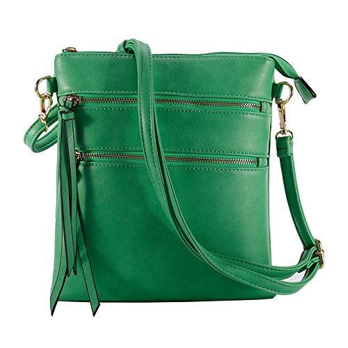 Functional Multi Pocket Crossbody Bag, Lightweight, Green by Leadingstar