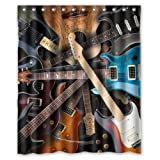 """New Choice - Cool Kinds Of Guitar Shower Curtain 60""""x72"""" Inches 100% Waterproof Polyester Fabric Bathroom Curtain,Shower Rings Included"""