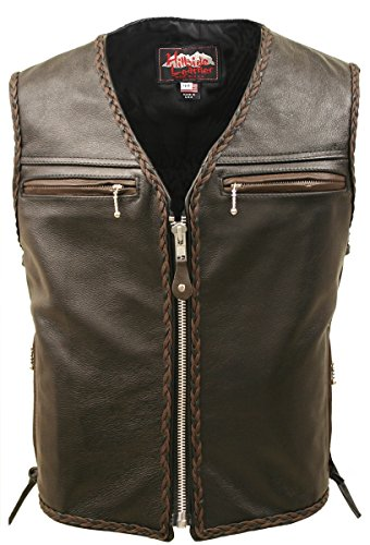 Braided Black Leather Vest - 5