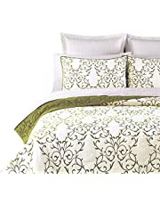 mixinni® Luxury 100% Cotton Embroidered Quilt Set 3 Piece Bedding Set,Bedspread Set,Comforter Set