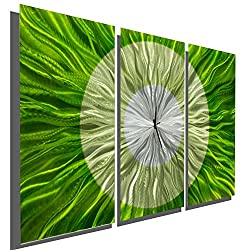 Abstract Modern Bright Green and Silver Metal Wall Clock - Hand-crafted Functional Home Decor Wall Art Accent - Go Green by Jon Allen - 38-inch