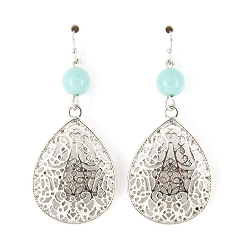 Special Silver-tone Blue Bead Hollow Carved Tear Drop Dangle (Tone Bead Drop)