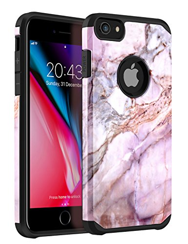 iPhone 8 Case, iPhone 7 Marble Case,iPhone 6 /6s Case, Tobomoco Shockproof Durability Protective Cover 2 in 1 Slim Soft Flexible TPU and Hard PC for Apple iPhone 6/6s/7/8, Marble