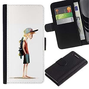 KingStore / Leather Etui en cuir / Sony Xperia Z1 Compact D5503 / Boy Monopatín Sombrero Pintura Arte Deporte
