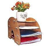 Wooden Office/Home Desktop Folder Organizer Rack Magazine File Storage