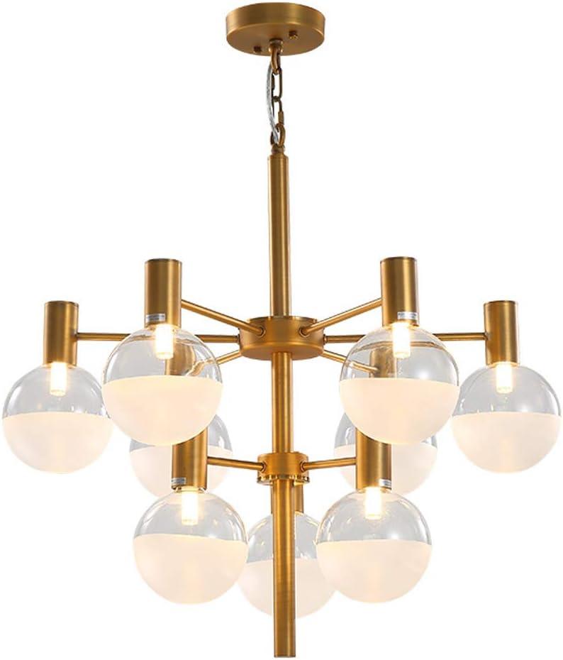 JAQ Posmoderna Bola de Cristal de la lámpara de Oro de Hierro Forjado de Techo del LED 9 Cabeza G9 Colgante artefacto de iluminación para la Sala de Estar Comedor Iluminación Interior
