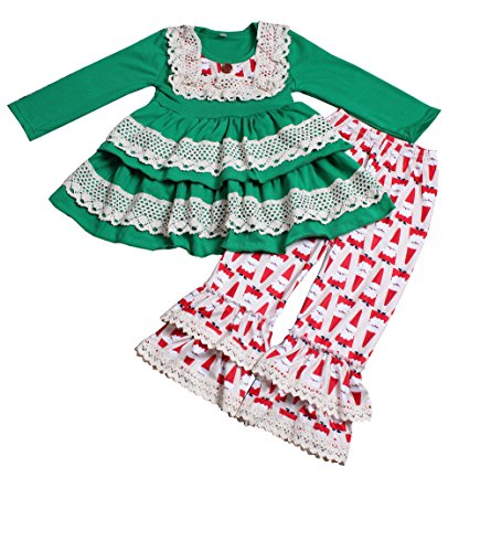 Yawoo Haan Little Girls Christmas Holiday Wear Ruffle Dress Pants 2PCS Clothing 6-7T