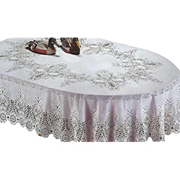 RJ Quality Product 941 60x90 Oval Design Crochet Tablecloth, Off White