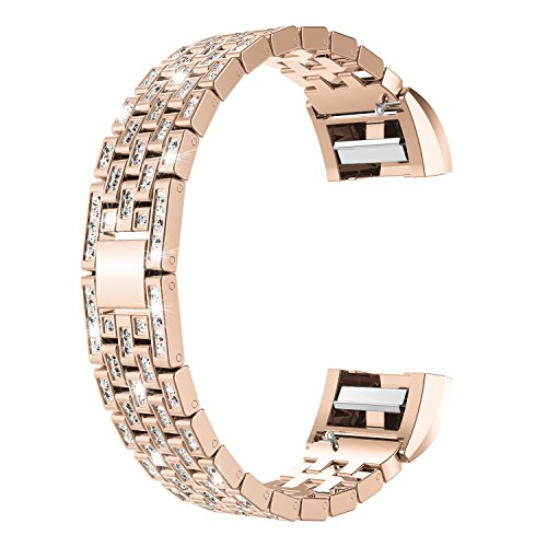 Wearlizer Bling Metal Comptible Fitbit Charge 2 Bands for Women Bangle Bracelet Assesories Straps Wrist Band Fit bit Charge hr 2 Dressy Small Large Silver Rose Gold Black