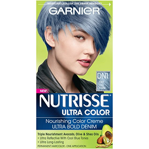 Garnier Nutrisse Ultra Color Nourishing Hair Color Creme, DN1 Light Cool Denim (Packaging May Vary) - Denim Dyes