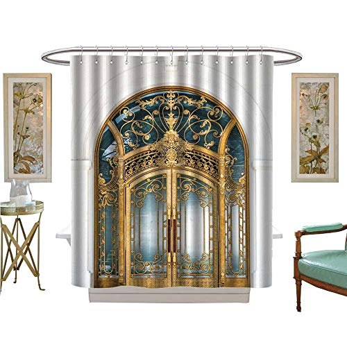 luvoluxhome Shower Curtains 3D Digital Printing Arched Doorway Door Made of Wood g and Glass Reflect Arch White Bathroom Accessories W48 x L84
