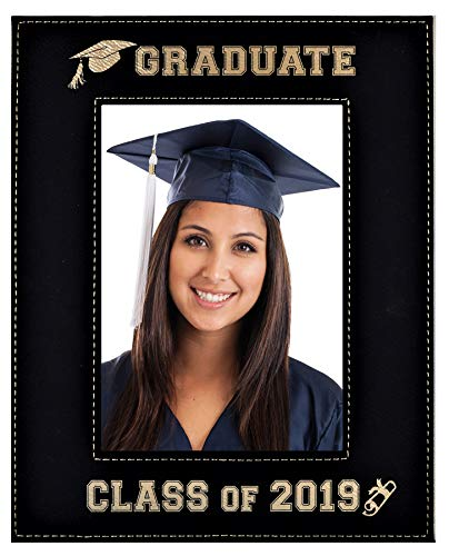 GIFT FOR GRADUATE / GRADUATION ~ Class of 2019 Picture Frame ~ Engraved Leatherette Graduation Picture Frame Elegant Black Frame Engraves in Gold Beautiful Display (Class of 2019 - 8x10) ()