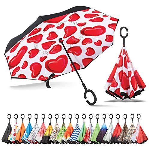 Sharpty Inverted Umbrella, Umbrella Windproof, Reverse Umbrella, Umbrellas for Women with UV Protection, Upside Down Umbrella with C-Shaped Handle (Hearts) (Best For Umbrellas Wind)