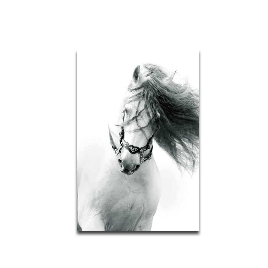 lidahaotin Courir Steed Huile Poster Mur Cheval Noir Blanc Peintures à l'huile Animale Image Frameless Dessin Photo Toile 30x45cm