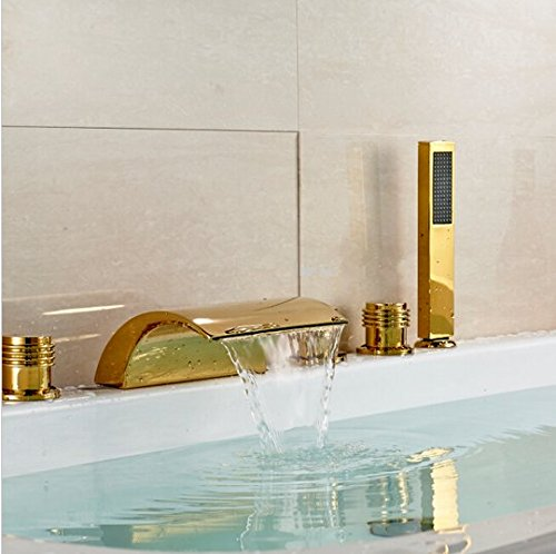 GOWE LED Color Chaning Waterfall Bathroom Tub Faucet 3 Handles Sink Mixer Tap Golden 2