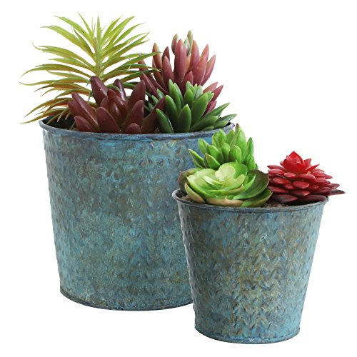 Metal Planter Pots (Mini Rustic Metal Succulent Planters, Round Flower Display Pots, Set of 2, Teal)