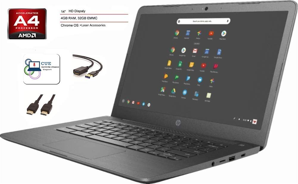 2020 HP Chromebook 14-inch LaptopComputer for Business Student Online Class/Remote Work, AMD A4 Processor, 4 GB RAM, 32 GB eMMC Storage, Chrome OS,WiFi, Bluetooth 4.2, 10 Hrs Battery+Laser USB Cable