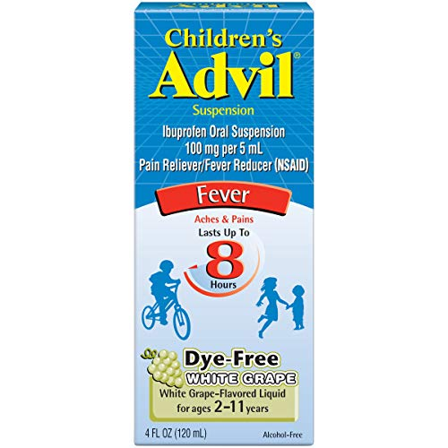 Childrens Advil Suspension (4 fl. oz, White Grape-Flavored), 100mg Ibuprofen Fever Reducer/Pain Reliever, Dye-Free, Liquid Pain Medicine, Ages 2 - 11