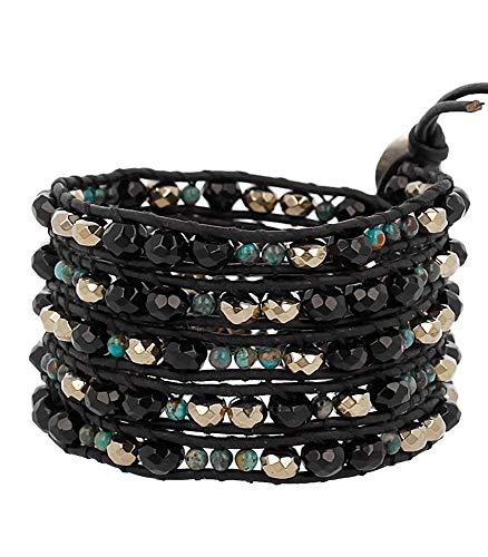 Chan Luu Black & Goldtone with Green Mineral Stone Beaded Black Leather Silvertone Wrap Bracelet