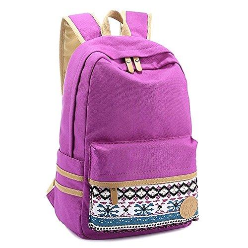 "Coofit® 15"" Purple Vintage Aztec Print Unisex Fashion Canvas School Backpacks"