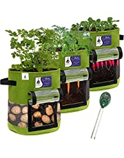 Potato Grow Bag 3-Pack with Soil pH Tester - 10-Gallon Plant Grow Bags for Vegetables - Non Woven Strong Fabric Planters - Tomato Garden Planter - Vegetable Cloth Pots with Handles - Planting Pot Bags
