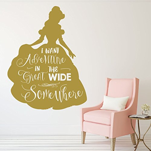 Disney Princesses Wall Decor- BELLE - Beauty and the Beast Theme Party Decorations - I want Adventure - For the Playroom, Child Room, or Nursery by CustomVinylDecor