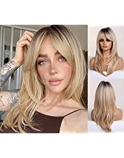 OUFEI 20 Inches Long Straight Blonde Layered Synthetic Hair Wigs for Women with Dark Roots for Daily Party Use