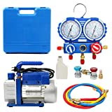 YaeTek Combo 3,5CFM 1/4HP Air Vacuum Pump HVAC + R134A Kit AC A/C Manifold Gauge Set (Includes Gauge Absolutely!!!)