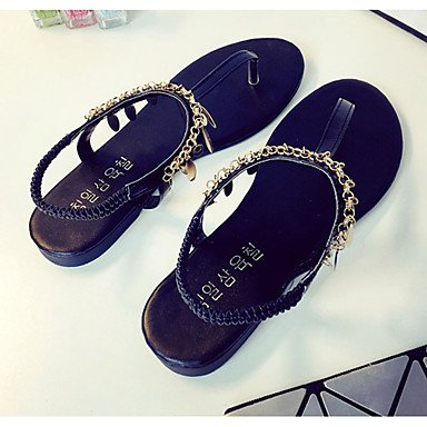 Zapatillas de mujer &Amp; Flip-Flops verano PU Confort Casual talón plano otros Negro / Plata Otros US5.5 / EU36 / UK3.5 / CN35