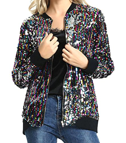 Howme-Women Sequin Glitter Air Force Long Sleeve Varsity Jacket As Picture