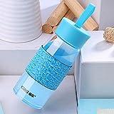 Blue Cille Travel Glasstea Cup Water Bottle Coffee Mug Drinking Bottle Sleeve 430Ml