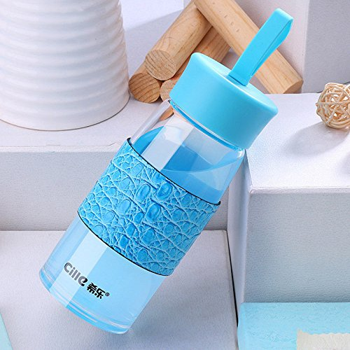Blue Cille Travel Glasstea Cup Water Bottle Coffee Mug Drinking Bottle Sleeve 430Ml by Travel Mugs