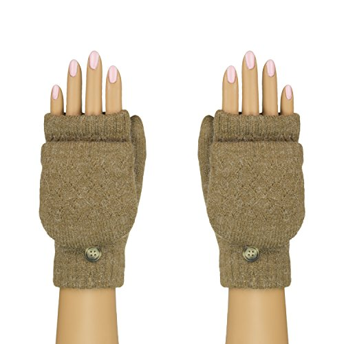 Coffee Flip Top Mittens, Convertible Cuffed Fingerless Gloves - Chenille Lining