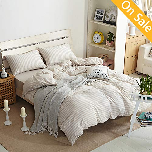 【LATEST ARRIVAL】Duvet Cover with Zipper King 3 Pieces Stripes Comforter Cover Set Knitted Cotton Cream Beige Natural Geometric Duvet Cover Modern Cover Set with 2 Pillow Shams,NO Comforter NO Sheet