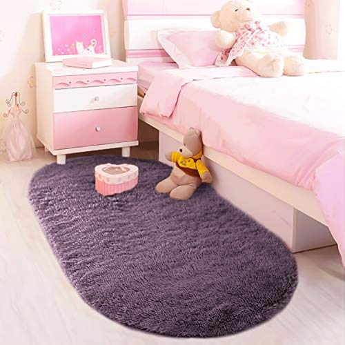 LOCHAS Ultra Soft Children Rugs Room Mat Modern Shaggy Area Rug Home Decor 2.6' x 5.3', Grey-Purple ()