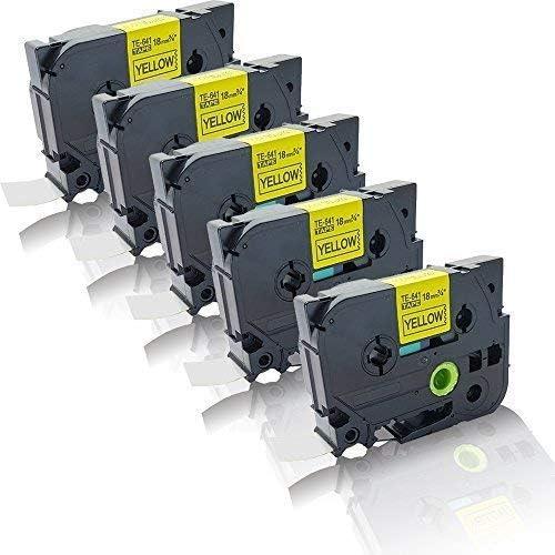 5/x caract/ère Volume Compatible pour Brother TZe-641/p-touch D450VP p-touch D600VP p-touch E500VP p-touch e550/W TZ641/lamin/é tz-641/18/mm x 8/m noir sur jaune