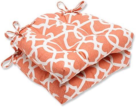 Pillow Perfect Lattice Damask Tangerine Reversible Chair Pad, Set of 2