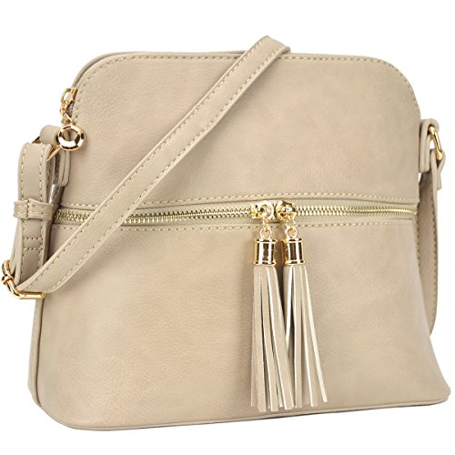 Purses Handbags Lightweight Bags DASEIN Medium Cute Brick Tassel Crossbody Stone with SFqYxdI